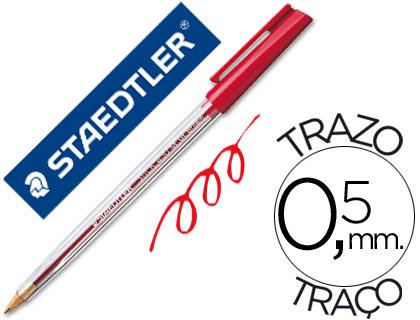 Boligrafo staedtler stick rojo con capuchon