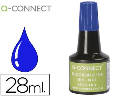 Tinta tampon q-connect azul -frasco de 28 ml.