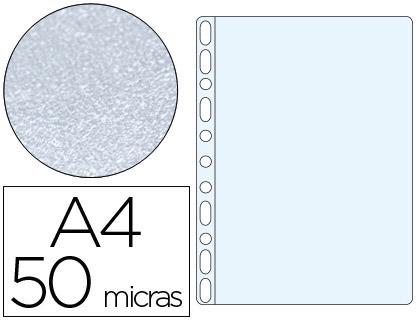 Fundas multitaladro piel de naranja 50 micras A4 (100 unds)