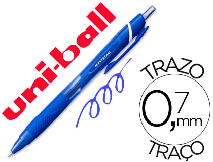 Bolígrafo Uni-ball ideal para zurdos retráctil 0,7 mm azul