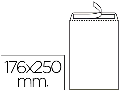 Sobre bolsa 176 x 250 mm Blanco Caja de 500