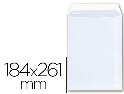 Sobre bolsa 184 x 261 mm Blanco Caja de 250