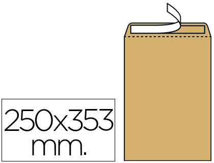 Sobre bolsa 250 x 353 mm Marrón Kraft Caja de 250