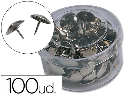 Cajita de 100 chinchetas niqueladas con una cabeza de 10 mm de diámetro.