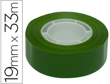 Cinta adhesiva apli 33 mt x 19 mm color verde.