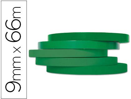 Cinta adhesiva q-connect 66m x 9mm verde para cerrar bolsas.