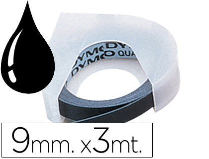 Cinta Dymo 3D relieve 9mmx3m Negro