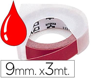 Cinta Dymo relieve 3D 9mmx3m Rojo