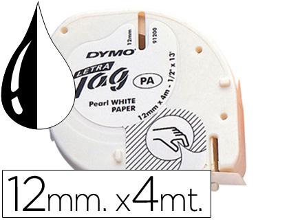 Cinta dymo papel 12mmx4mt -negro/blanco para letratag.