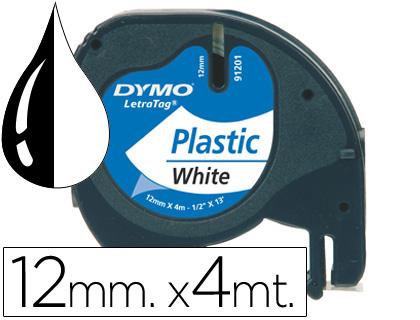Cinta dymo 12mmx4mt -negro/blanco perla para maquina letratag 91201.