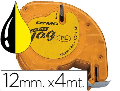 Cinta dymo 12mmx4mt -negro/hiperamarillo para maquina letratag.