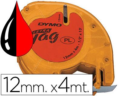 Cinta dymo 12mmx4mt -negro/rojo cosmico para maquina letratag.
