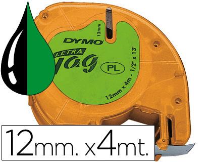 Cinta dymo 12mmx4mt -negro/verde acido para maquina letratag.
