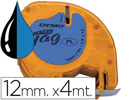 Cinta dymo 12mmx4mt -negro/ultra azul para maquina letratag.