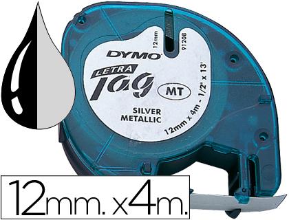 Cinta dymo metalizada 12mmx4mt -negro/plata para letratag.
