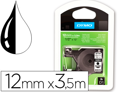 Cinta dymo negro blanco 12mm x3,5 mt d1 nylon.