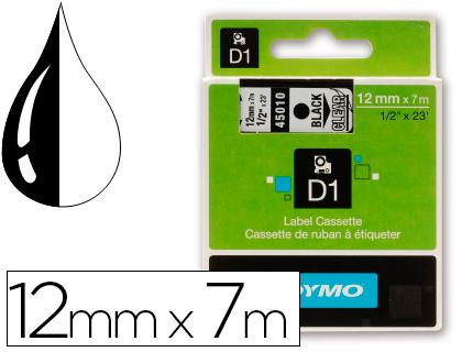 Cinta dymo negro transparente 12mm x7 mt d1.