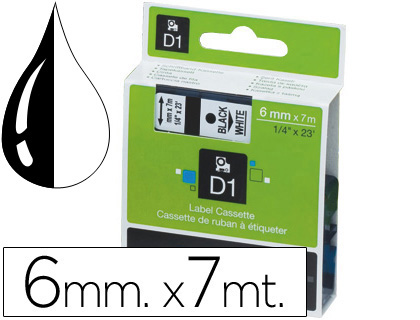 Cinta dymo negro-blanco 6mm x 7mt d1.