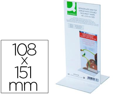 Expositor sobremesa dos caras forma de T metacrilato 108x151 mm