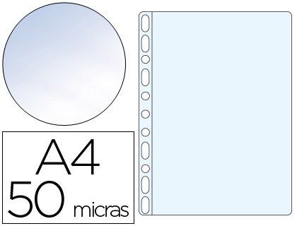 Fundas multitaladro transparente CRISTAL 50 micras A4 (100 unds)