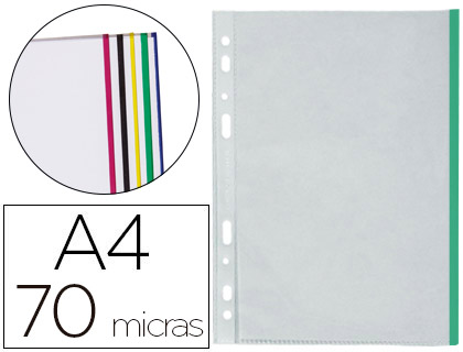 Fundas multitaladro borde de colores transparente Din A4 (25 unds)