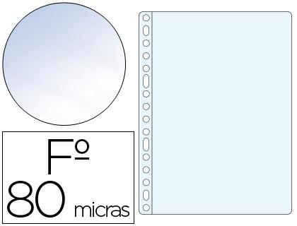 Fundas multitaladro transparente CRISTAL 80 micras folio
