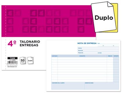 Notas de entrega tamaño cuarto apaisado, duplicado (5 talonarios)