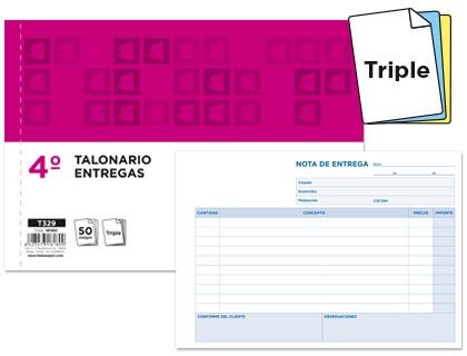 Notas de entrega tamaño cuarto apaisado triplicado (5 talonarios)
