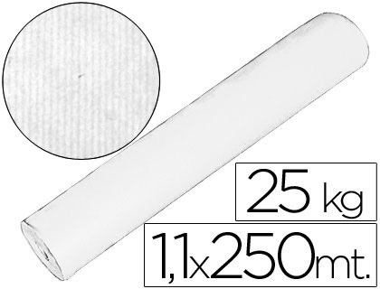 Papel embalaje kraft blanco rollo de 1,10 mt x 250 mts