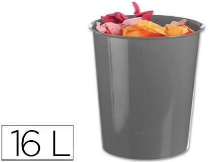 Papelera plastico q-connect gris opaco 16 litros
