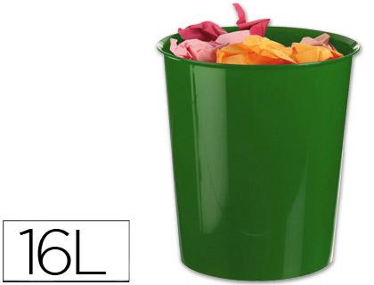 Papelera plastico q-connect verde opaco 16 litros.