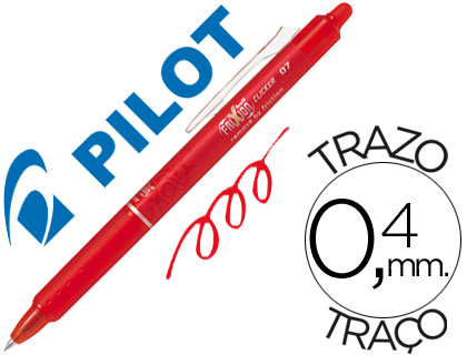 Boligrafo pilot frixion clicker borrable 0,7 mm color rojo.