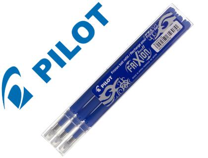 Recambio boligrafo pilot frixion ball azul caja de 3 unidades.