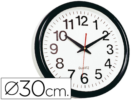 Reloj de pared negro oficina redondo 30 cm