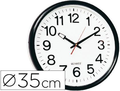 Reloj de pared negro oficina redondo 35 cm