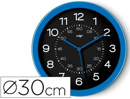 Reloj cep de pared plastico oficina redondo 30 cm de diametro color azul