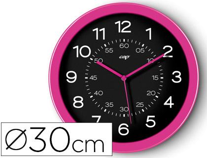 Reloj de pared oficina redondo rosa