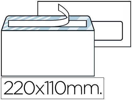 Sobre comercial blanco 110 x 220 mm ventana derecha Caja de 500