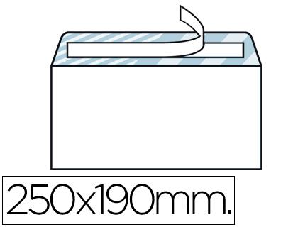 Sobre blanco 190 x 250 mm Cuarto prolongado Caja de 250