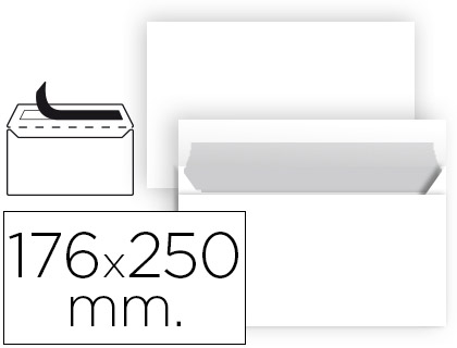 Sobre blanco 176 x 250 mm B5 sin ventana paquete de 25