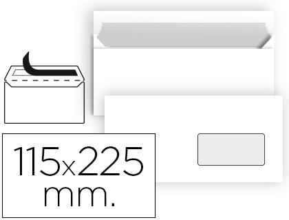 Sobre americano blanco 115 x 225 mm ventana derecha 25 unds.