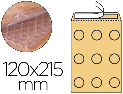 Sobre acolchado de burbujas 120 x 215 mm kraft marrón Caja de 100
