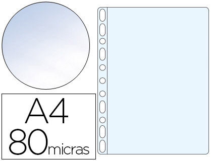 Fundas multitaladro transparente CRISTAL 80 micras A4
