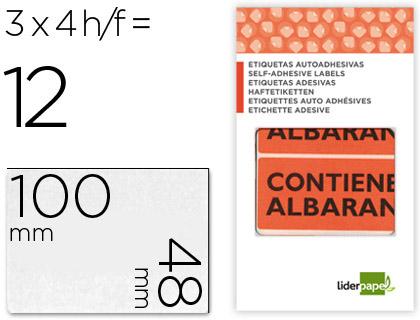 Etiquetas CONTIENE ALBARÁN 12 unds