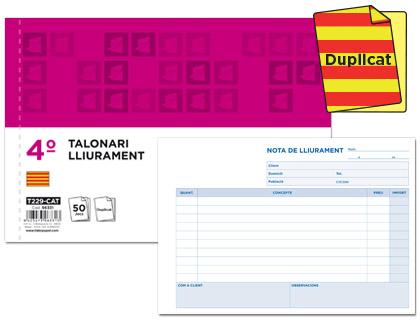 Talonario Notas de Entrega en Catalán Duplicado 144 x 210 mm (5 unds)