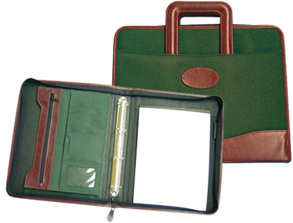 Cartera portadocumentos verde/marron 360x285mm con asa