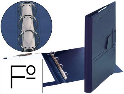 Clasificador de 4 anillas 25 mm lengueta miniclip plastico saro folio azul