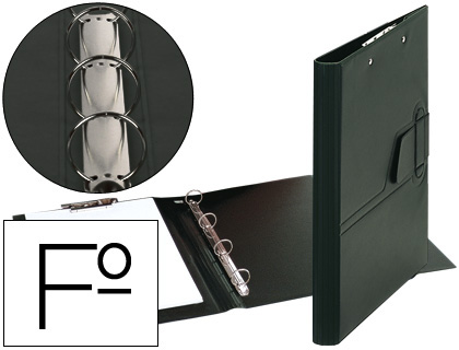 clasificador de 4 anillas 25 mm lengueta miniclip plastico saro folio negra