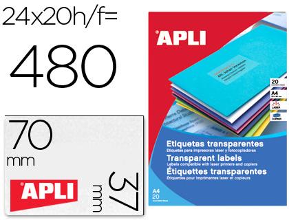 Etiquetas Apli transparentes 70 x 37 mm