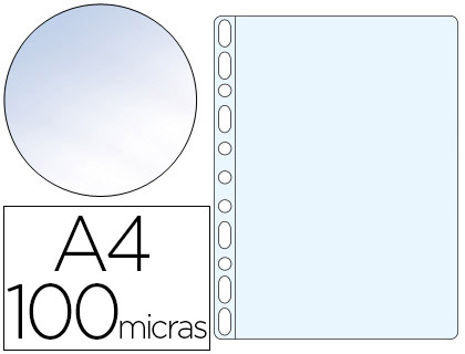 Funda multitaladro din a4 100 mc cristal caja de 100 unidades